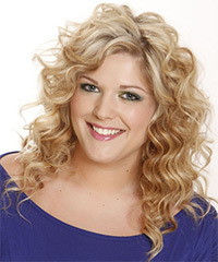 Long Wavy Casual  Shag  Hairstyle with Side Swept Bangs  - Light Champagne Blonde Hair Color with Dark Blonde Highlights
