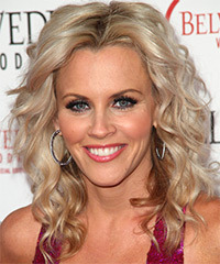 Jenny McCarthy Medium Wavy Casual  Shag  Hairstyle   - Light Ash Blonde Hair Color