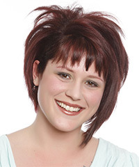 Short Straight Casual  Bob  Hairstyle with Razor Cut Bangs  - Burgundy Hair Color