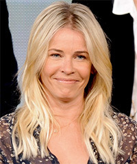 Chelsea Handler Long Straight Casual    Hairstyle   - Light Champagne Blonde Hair Color with Light Blonde Highlights