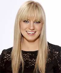 Long Straight   Light Golden Blonde   Hairstyle with Blunt Cut Bangs  and  Blonde Highlights