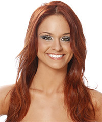 Long Straight Casual    Hairstyle   -  Copper Red Hair Color