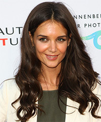 Katie Holmes Long Wavy Casual    Hairstyle   - Mocha Hair Color