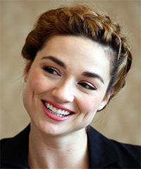 Crystal Reed  Long Curly Casual  Braided Updo Hairstyle   - Dark Honey Brunette Hair Color with  Blonde Highlights