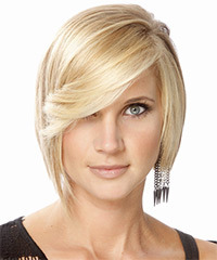 Medium Straight Formal  Bob  Hairstyle with Side Swept Bangs  - Light Golden Blonde Hair Color with Light Blonde Highlights