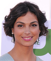 Morena Baccarin Short Wavy Layered  Black  Bob  Haircut