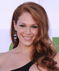 Amanda Righetti Long Wavy Formal    Hairstyle   - Dark Copper Red Hair Color