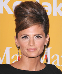 Stana Katic  Long Straight Formal   Updo Hairstyle with Side Swept Bangs  - Dark Chocolate Brunette Hair Color with Light Brunette Highlights