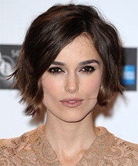 Keira Knightley Short Straight Casual    Hairstyle   - Dark Mocha Brunette Hair Color with  Brunette Highlights