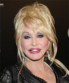 Dolly Parton  Long Straight   Light Platinum Blonde  Updo  with Side Swept Bangs
