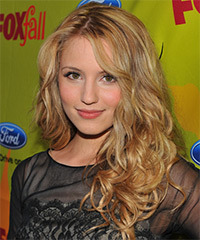 Dianna Agron Long Curly Casual    Hairstyle   -  Golden Blonde Hair Color with Light Blonde Highlights