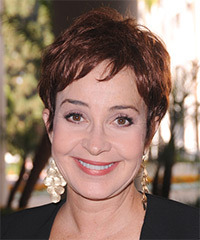 Annie Potts Short Straight Casual    Hairstyle with Side Swept Bangs  -  Chestnut Brunette Hair Color