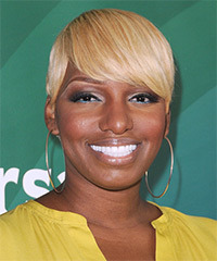 Nene Leakes Short Straight Formal    Hairstyle with Side Swept Bangs  -  Blonde Hair Color with Light Blonde Highlights