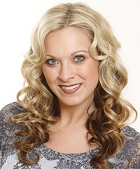 Long Curly Formal    Hairstyle   - Light Brunette and  Brunette Two-Tone Hair Color