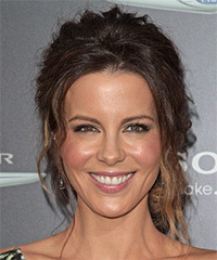 Kate Beckinsale  Long Curly Casual   Updo Hairstyle   -  Brunette Hair Color with  Blonde Highlights