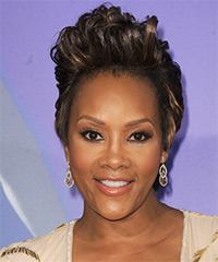 Vivica A. Fox Short Wavy Alternative    Hairstyle   - Dark Brunette Hair Color with  Blonde Highlights