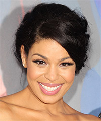 Jordin Sparks  Long Curly Formal   Updo Hairstyle with Side Swept Bangs  - Black  Hair Color