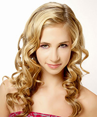 Long Curly Formal    Hairstyle   -  Golden Blonde Hair Color with Light Blonde Highlights