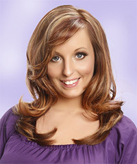 Long Straight Formal    Hairstyle with Side Swept Bangs  -  Caramel Brunette Hair Color with Light Blonde Highlights