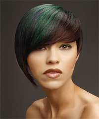 Short Straight Alternative  Asymmetrical  Hairstyle with Side Swept Bangs  -  Brunette and Green Two-Tone Hair Color with Purple Highlights