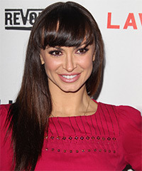 Karina Smirnoff Long Straight Casual    Hairstyle with Blunt Cut Bangs  - Dark Mocha Brunette Hair Color