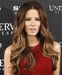 Kate Beckinsale Long Wavy Casual    Hairstyle   -  Chocolate Brunette Hair Color with Light Blonde Highlights