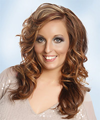Long Wavy Casual    Hairstyle with Side Swept Bangs  -  Copper Brunette Hair Color with  Red Highlights