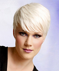 Short Straight Formal    Hairstyle with Side Swept Bangs  - Light Platinum Blonde Hair Color