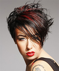Short Straight Casual    Hairstyle with Side Swept Bangs  - Black  Hair Color with  Red Highlights