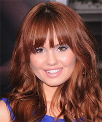 Debby Ryan Long Wavy Casual    Hairstyle with Blunt Cut Bangs  -  Ginger Red Hair Color