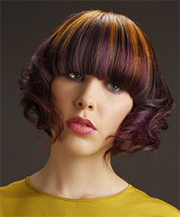 Short Wavy Alternative  Emo  Hairstyle with Blunt Cut Bangs  - Purple  and Orange Two-Tone Hair Color