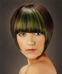 Short Straight Formal  Bob  Hairstyle with Blunt Cut Bangs  - Dark Brunette Hair Color with Green Highlights