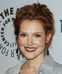 Darby Stanchfield  Long Curly Casual  Braided Updo Hairstyle   -  Red Hair Color