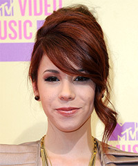 Jillian Rose Reed  Long Straight Formal   Updo Hairstyle with Side Swept Bangs  -  Red Hair Color