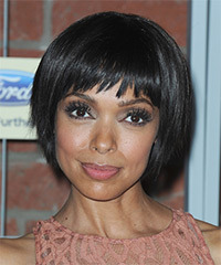 Tamara Taylor Short Straight Layered  Black  Bob  Haircut with Razor Cut Bangs