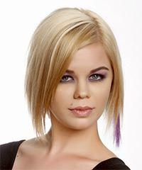 Short Straight Casual Layered Bob  Hairstyle   -  Golden Blonde Hair Color with Light Blonde Highlights
