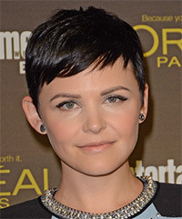 Ginnifer Goodwin Short Straight Casual    Hairstyle with Side Swept Bangs  - Dark Brunette Hair Color