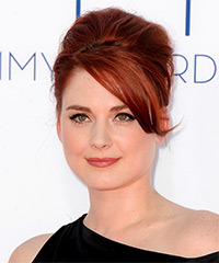 Alex Breckinridge  Long Straight Formal   Updo Hairstyle with Side Swept Bangs  -  Red Hair Color