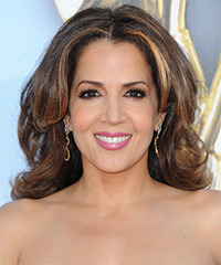 Maria Canals Berrera Medium Straight Casual    Hairstyle   -  Brunette Hair Color with Dark Blonde Highlights