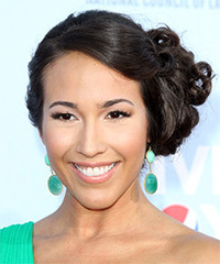 Marisa Quinn  Long Curly Formal   Updo Hairstyle   - Dark Brunette Hair Color