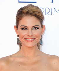 Maria Menounos  Long Straight Formal   Updo Hairstyle   -  Caramel Brunette Hair Color with  Blonde Highlights