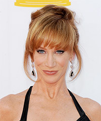 Kathy Griffin  Long Straight Formal   Updo Hairstyle with Blunt Cut Bangs  - Dark Copper Blonde Hair Color with Light Red Highlights