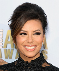 Eva Longoria  Long Straight Formal   Updo Hairstyle with Side Swept Bangs  - Dark Brunette Hair Color