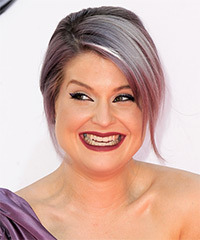 Kelly Osbourne  Long Straight Casual   Updo Hairstyle   - Purple  Hair Color with Light Blonde Highlights