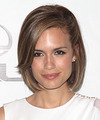 Torrey DeVitto Medium Straight   Light Chestnut Brunette Bob  Haircut with Side Swept Bangs  and  Blonde Highlights
