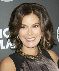 Teri Hatcher Medium Wavy Formal Layered Bob  Hairstyle   -  Ash Brunette Hair Color