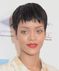 Rihanna Short Straight Casual  Pixie  Hairstyle with Layered Bangs  - Dark Brunette Hair Color