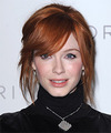 Christina Hendricks  Long Straight Casual   Updo Hairstyle with Side Swept Bangs  - Dark Copper Red Hair Color