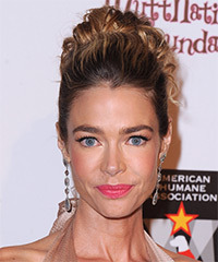 Denise Richards  Long Curly Formal   Updo Hairstyle   - Dark Mocha Brunette Hair Color with  Blonde Highlights