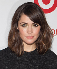 Rose Byrne Medium Straight Casual  Bob  Hairstyle with Side Swept Bangs  - Dark Chocolate Brunette Hair Color